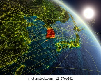 South Korea from space on realistic model of planet Earth with network. Concept of digital technology, connectivity and travel. 3D illustration. Elements of this image furnished by NASA.