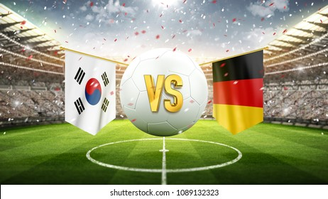 South Korea vs Germany. Soccer concept. White soccer ball with the flag in the stadium, 2018. 3d render