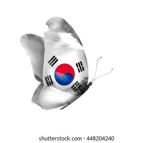 South Korea watercolor flag butterfly, isolated on white