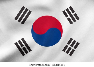 South Korean national official flag. Patriotic symbol, banner, element, background. Correct size, colors. Flag of South Korea waving in the wind, real detailed fabric texture. 3D illustration