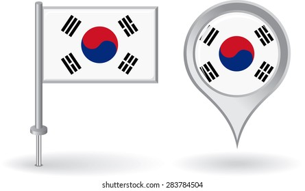 South Korean pin icon and map pointer flag. Raster version