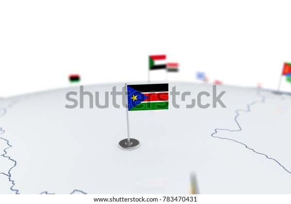 South Sudan flag. Country flag with chrome flagpole on the world map with neighbors countries borders. 3d illustration rendering flag