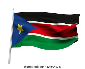 South Sudan flag floating in the wind with a White sky background. 3D illustration.