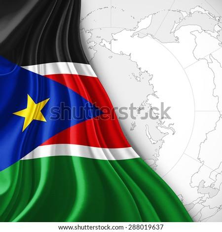 South Sudan Flag Silk World Map Stock Illustration 288019637