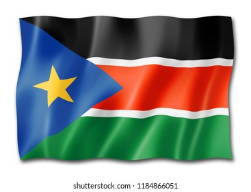 South Sudan flag, three dimensional render, isolated on white