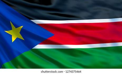 South Sudan flag. Waving flag of South Sudan 3d illustration. Juba
