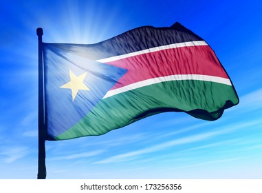 South Sudan flag waving on the wind
