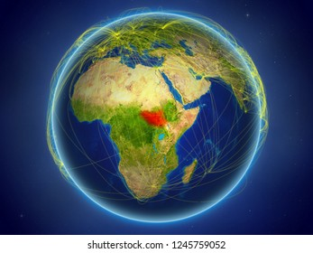 South Sudan from space on planet Earth with digital network representing international communication, technology and travel. 3D illustration. Elements of this image furnished by NASA.