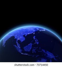 Southeast Asia 3d render. Maps from NASA imagery