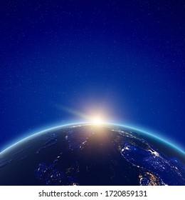 Südostasien Stadt beleuchtet Sonnenaufgang. Elemente dieses von der NASA bereitgestellten Bildes. 3D-Rendering