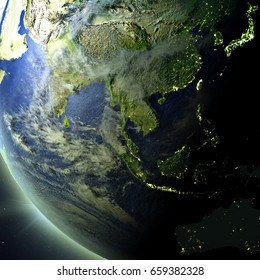 Southeast Asia from Earth's orbit in space. 3D illustration with detailed planet surface. Elements of this image furnished by NASA.