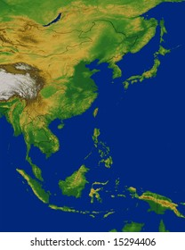 Southeast Asia map with terrain