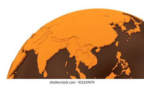 Southeast Asia on chocolate model of planet Earth. Sweet crusty continents with embossed countries and oceans made of dark chocolate. 3D rendering.
