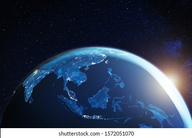 Southeast Asia from space at night with city lights showing South East Asian cities in Thailand, Vietnam, Malaysia, Singapore and Indonesia, 3d rendering of planet Earth, elements from NASA