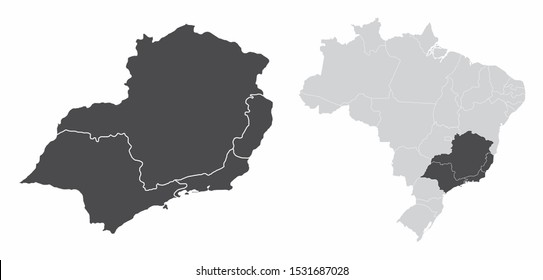 The Southeast Region map and its location in Brazil