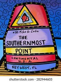 Southernmost Point Marker Cartoon Illustration Key West, Florida