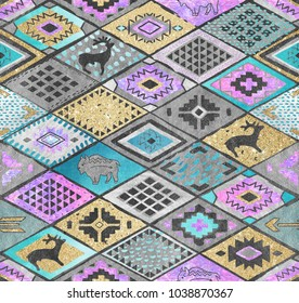 Southwestern seamless pattern with deers, buffalo. Patchwork tribal design