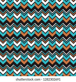 Southwestern vibrant zig zag background. Bright black and teal chevron pattern. Digital scrapbook paper