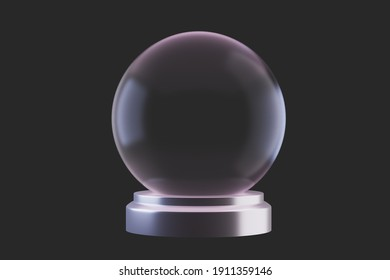 A souvenir Empty Transparent Snow Globe on dark background, 3d render