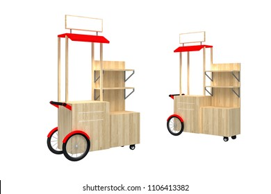 Souvenir Trolley Cart on a white background. 3d Rendering