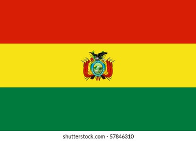 Sovereign state flag of country of Bolivia in official colors.