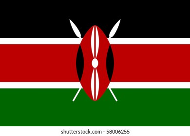Sovereign state flag of country of Kenya in official colors.