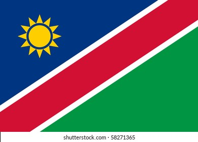 Sovereign state flag of country of Namibia in official colors.