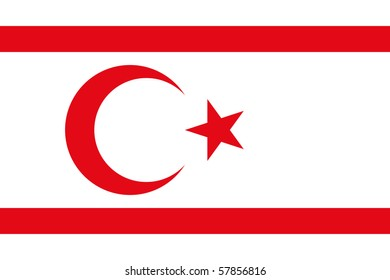 Sovereign state flag of country of Turkish Republic of Northern Cyprus in official colors.