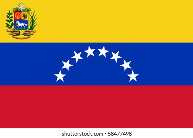Sovereign state flag of country of Venezuela in official colors.