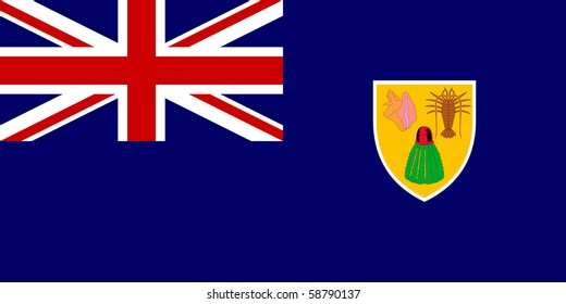 Sovereign state flag of dependent country of Turks and Caicos Islands in official colors.
