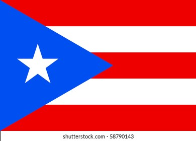 Sovereign state flag of dependent country of Puerto Rico in official colors.