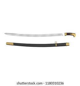 Soviet Era Cossack Sabre with Sheath on white. Top view. 3D illustration