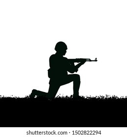 Soviet soldier with 1980's style uniforms and weapons. Standing on grass. Black silhouette with white background.
