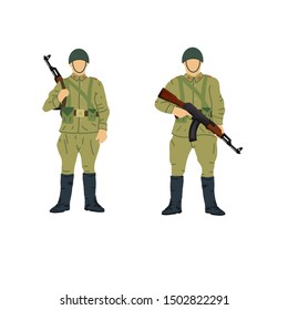 Soviet soldiers with 1980's style uniforms and weapons. Original minimalist style illustration.