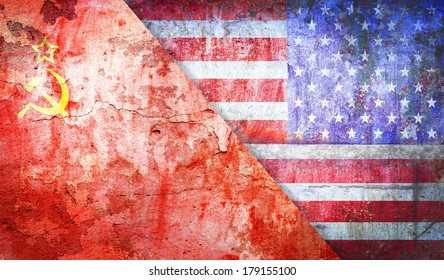 Soviet Union confrontation  United States America concept Cold War flag grunge vintage retro style
