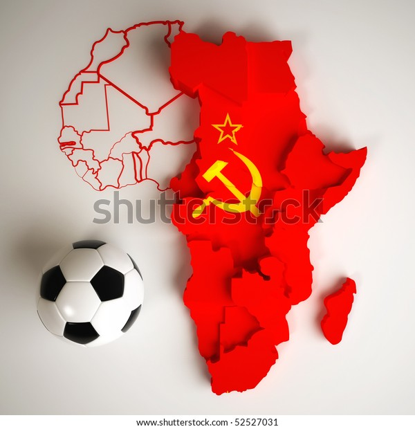 Soviet Union Flag On Map Africa Stock Illustration 52527031
