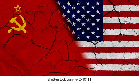Soviet Union and USA flag together, with dried soil texture