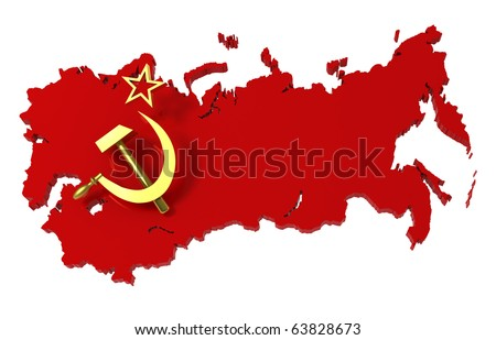 Soviet Union, USSR, map with flag, clipping path, 3d illustration
