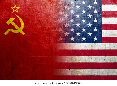 Soviet Union (USSR) and United States flags on the grunge metal background