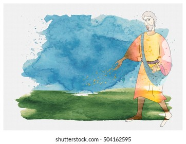 Sower sows seed, watercolor abstract artistic watercolor illustration of the Gospel Bible parable about the sower