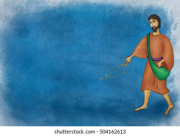 Sower sows seed, watercolor abstract artistic illustration of the Gospel Bible parable about the sower