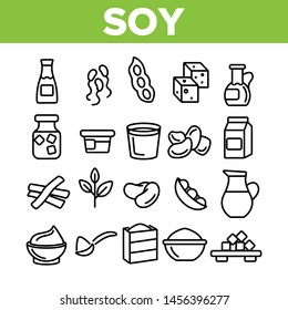 Soy Products, Food Linear Icons Set. Vegetarian Soy Food Symbols Pack. Vegan Ingredients Pictograms Collection. Isolated Cooking Signs. Eco, Natural meat substitutes Items Outline Illustrations
