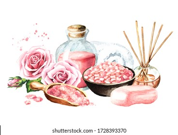 Spa concept. Bath accessories with rose flower. Hand drawn watercolor illustration isolated on white background