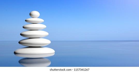 Spa concept. Zen stones stack on water, blue sky background. 3d illustration