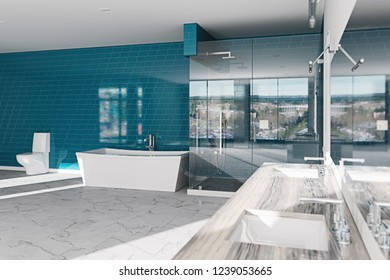 Spa, hotel bathroom concept. Modern architecture interior design, 3d render