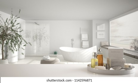 Spa, hotel bathroom concept. White table top or shelf with bathing accessories, toiletries, over blurred large minimalist bathroom, modern architecture interior design, 3d illustration