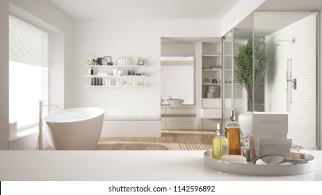 Spa, hotel bathroom concept. White table top or shelf with bathing accessories, toiletries, over blurred minimalist bathroom, modern architecture interior design, 3d illustration