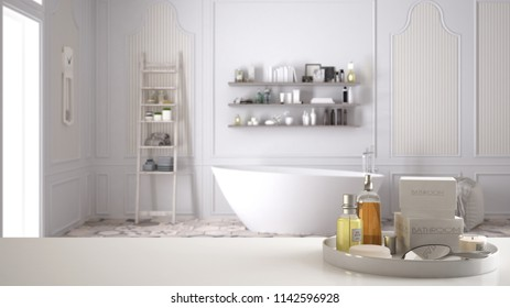 Spa, hotel bathroom concept. White table top or shelf with bathing accessories, toiletries, over blurred scandinavian vintage bathroom, modern architecture interior design, 3d illustration