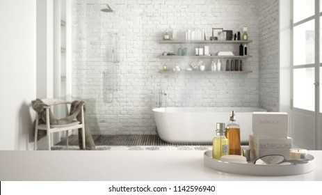 Spa, hotel bathroom concept. White table top or shelf with bathing accessories, toiletries, over blurred vintage classic bathroom, modern architecture interior design, 3d illustration