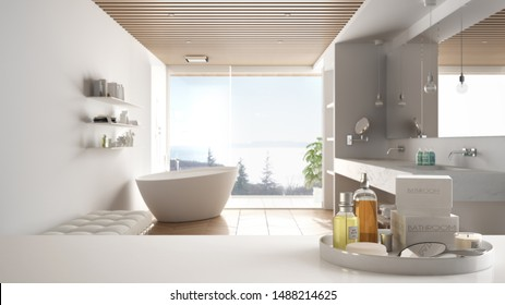 Spa, hotel bathroom concept. White table top or shelf with bathing accessories, toiletries, over blurred wooden minimalist bathroom, modern architecture interior design, 3d illustration